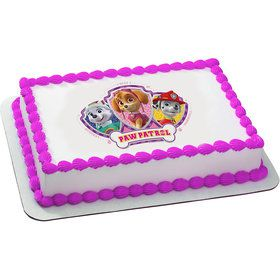 Paw Patrol Pink Quarter Sheet Edible Cake Topper (Each)