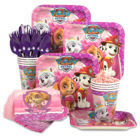 Paw Patrol Pink Standard Tableware Kit (Serves 8)