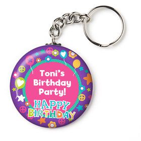 "Peace Love Birthday Personalized 2.25"" Key Chain (Each)"