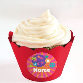 Peace Love Birthday Personalized Cupcake Wrappers (Set of 24)
