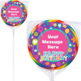 Peace Love Birthday Personalized Lollipops (12 Pack)