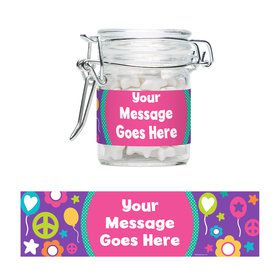 Peace Love Birthday Personalized Swing Top Apothecary Jars (12 ct)
