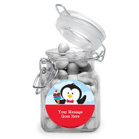 Penguin Personalized Glass Apothecary Jars (10 Count)