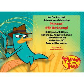 Phineas And Ferb Personalized Invitation (Each)
