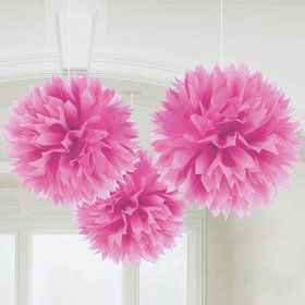 "Pink 16"" Fluffy Decorations (3)"
