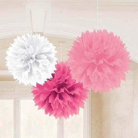 "Pink 16"" Fluffy Tissue Decorations (3 Pack)"