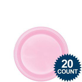 "Pink 7"" Plastic Cake Plates (20 Pack)"