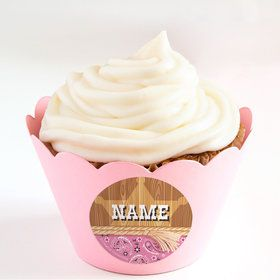 Pink Bandana Personalized Cupcake Wrappers (Set of 24)