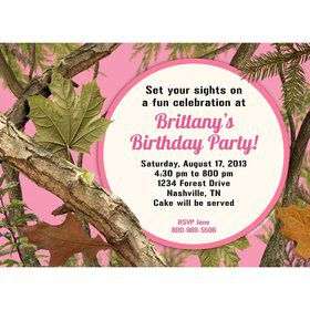 Pink Camo Personalized Invitation (each)