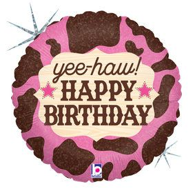 "Pink Cowgirl Birthday 18"" Balloon (1)"