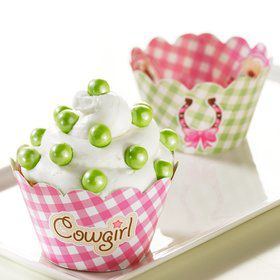 Pink Cowgirl Reversible Cupcake Wrappers (12)
