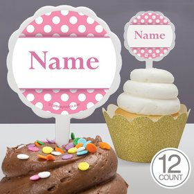 Pink Dots Personalized Cupcake Picks (12 Count)