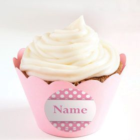 Pink Dots Personalized Cupcake Wrappers (Set of 24)