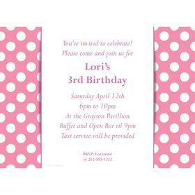 Pink Dots Personalized Invitation (Each)