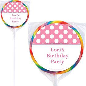 Pink Dots Personalized Lollipops (12 Pack)