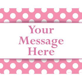 Pink Dots Personalized Rectangular Stickers (Sheet of 15)