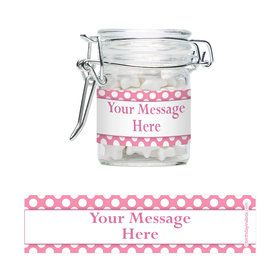 Pink Dots Personalized Swing Top Apothecary Jars (12 ct)