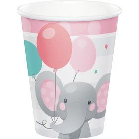 Pink Elephant Birthday 9oz Paper Cups (8)