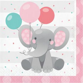 Pink Elephant Birthday Lunch Napkins (16)