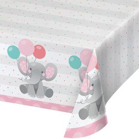 Pink Elephant Birthday Paper Table Cover