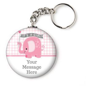 "Pink Elephant Personalized 2.25"" Key Chain (Each)"