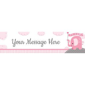 Pink Elephant Personalized Banner (Each)