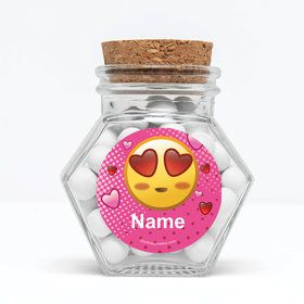 "Pink Emoji Personalized 3"" Glass Hexagon Jars (Set of 12)"