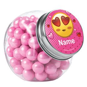 Pink Emoji Personalized Plain Glass Jars (12 Count)