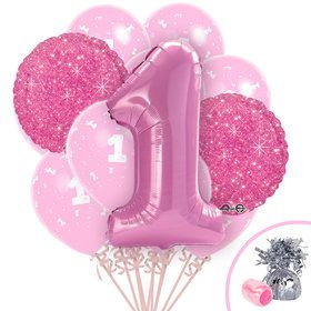 Pink First Birthday Balloon Bouquet Kit