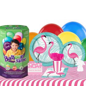 Pink Flamingo Party 16 Guest Kit with Tableware and Helium Kit