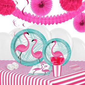 Pink Flamingo Party 16 Guest Tableware Decoration Kit