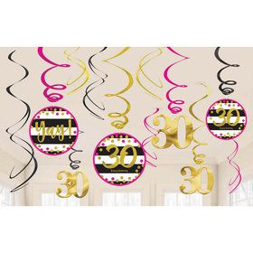 Pink & Gold 30th Birthday Swirl Decorations (12)