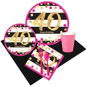 Pink & Gold 40th Birthday Party Pack for 8