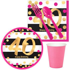 Pink & Gold 40th Birthday Snack Pack for 16
