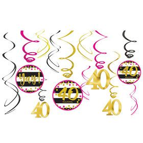 Pink & Gold 40th Birthday Swirl Decorations (12)