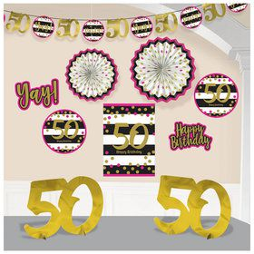 Pink & Gold 50th Birthday Room Decorating Kit (10 Pieces)