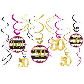 Pink & Gold 50th Birthday Swirl Decorations (12)