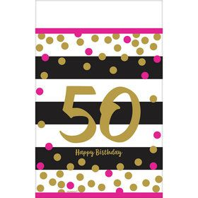 Pink & Gold 50th Birthday Table Cover (1)