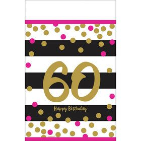 Pink & Gold 60th Birthday Table Cover (1)