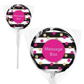 "Pink & Gold Personalized 2"" Lollipops (20 Pack)"