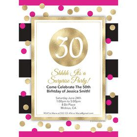 Pink & Gold Personalized Add-An-Age Invitation (Each)