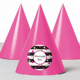 Pink & Gold Personalized Party Hats (8 Count)