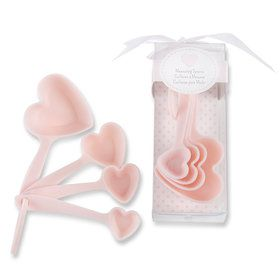 Pink Heart Plastic Measuring Spoons