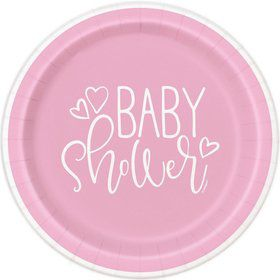 "Pink Hearts Baby Shower 7"" Dessert Plate (8)"