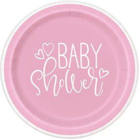 "Pink Hearts Baby Shower 9"" Lunch Plate (8)"