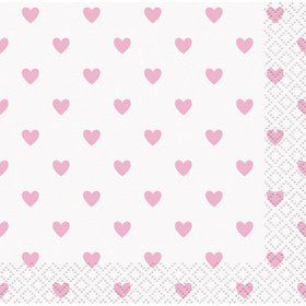 Pink Hearts Baby Shower Beverage Napkin (16)