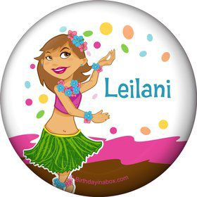 Pink Luau Fun Personalized Button (Each)