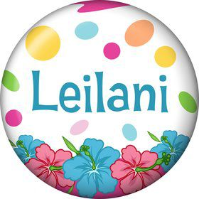Pink Luau Fun Personalized Mini Button (Each)