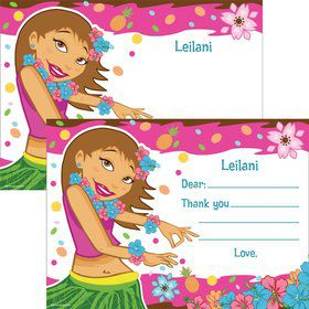Pink Luau Fun Personalized Thank You (Each)