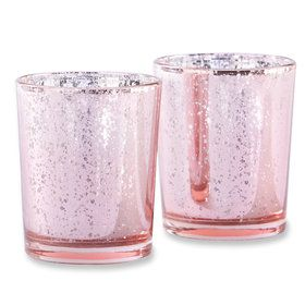 Pink Mercury Glass Tea Light Holder (Set of 4)